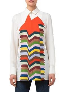 Akris Kinderstern Print Wool Mousseline Tunic Shirt