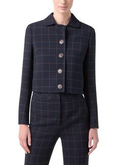 Akris Lautrec Windowpane Double Face Wool Blend Crepe Crop Jacket
