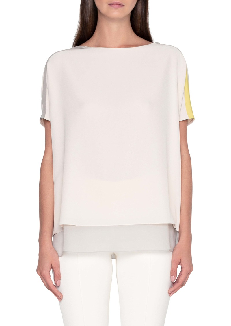 Akris Layered Colorblock Silk Crepe Blouse