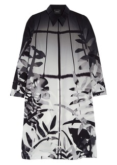 Akris Leaf Prink Silk Crepe Shirtdress