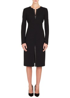 Akris Leather Inset Double Face Wool Blend Dress