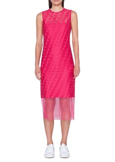 Akris Lip Embroidered Tulle Overlay Dress