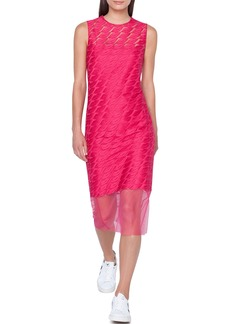 Akris Lips-Embroidered Sleeveless Sheath Midi Dress w/ Slip