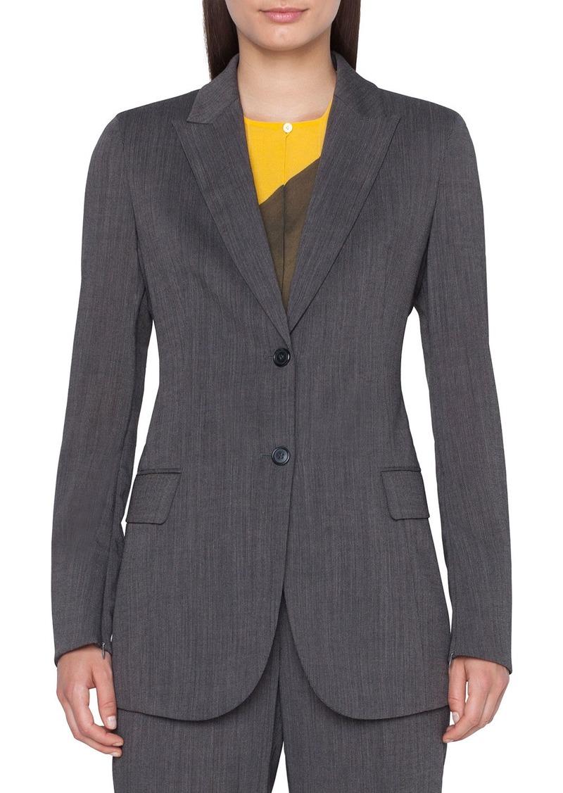 Akris Long 2-Button Cool Wool Crepe Jacket