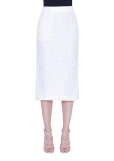 Akris Long Eyelet Pencil Skirt