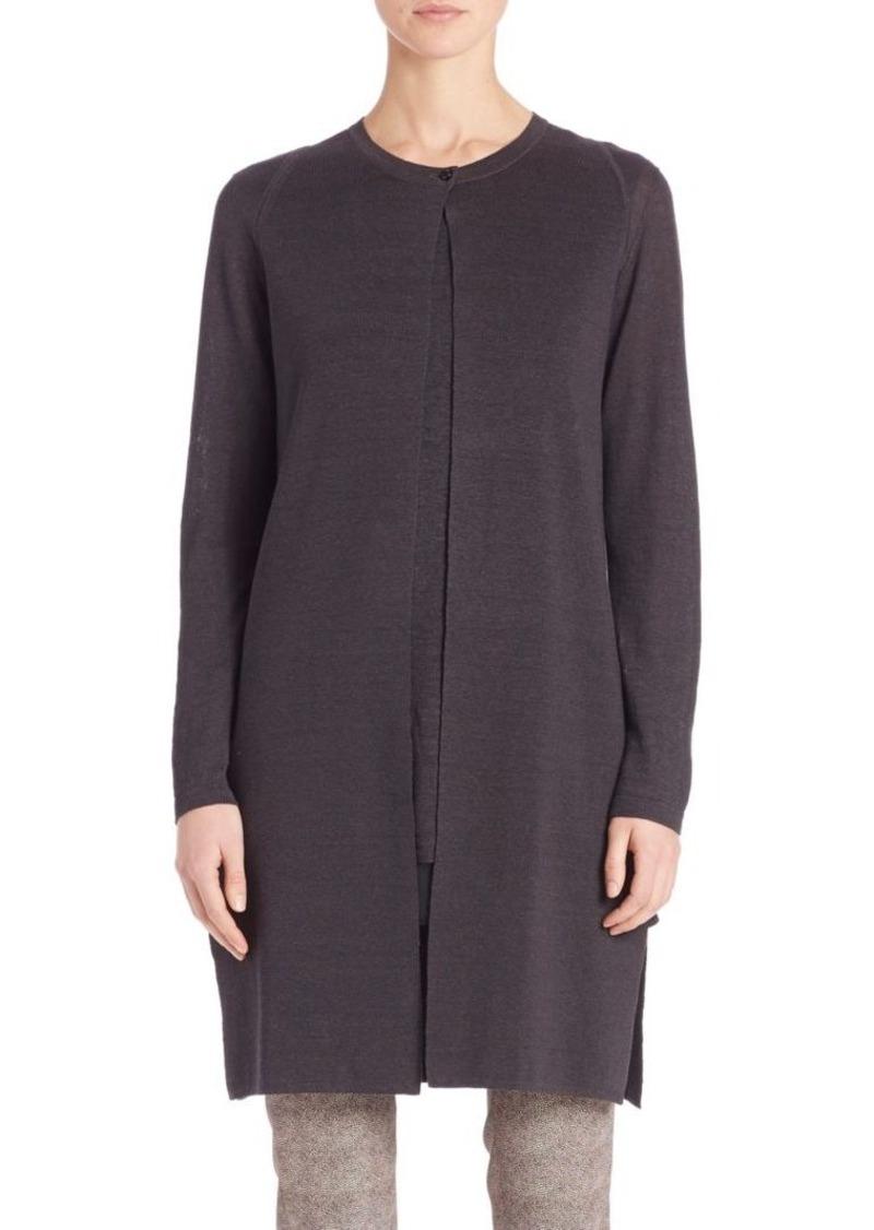 Akris Long Linen & Silk Cardigan