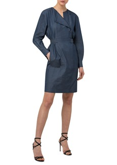 Akris Long Sleeve Asymmetrical Zip Denim Sheath Dress