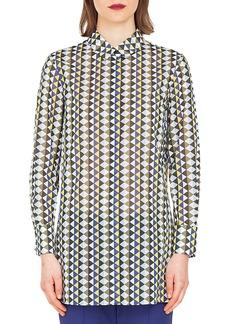 Akris Long-Sleeve Button-Front Diamond-Stripe Cotton Voile Blouse