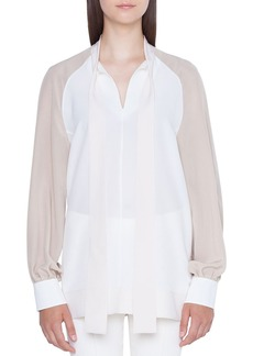 Akris Long-Sleeve Colorblock Blouse with Detachable Cuffs