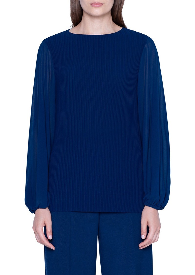Akris Long-Sleeve Draped Plisse Blouse