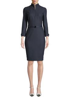 Akris Long-Sleeve Flannel Zip-Front Belted Dress