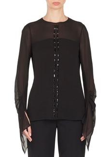 Akris Long-Sleeve Jewel-Neck Silk Georgette Blouse w/ Stone Embellishments