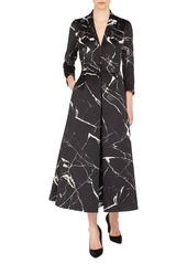 Akris Long-Sleeve Marble Tiles Jacquard Fit-and-Flare Coat Gown