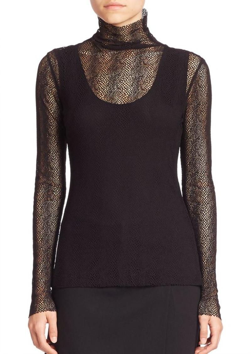 Akris Long-Sleeve Net Embroidery Top