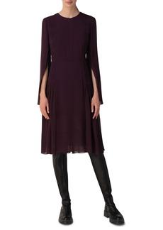 Akris Long Sleeve Pleated Silk Georgette Cocktail Dress
