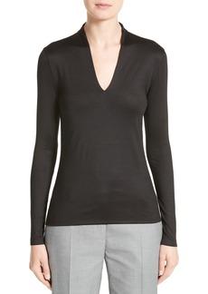 Akris Long Sleeve Silk Jersey Blouse