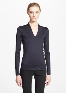 Akris Long Sleeve Silk Jersey Blouse
