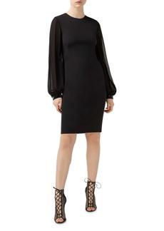 Akris Long Sleeve Stretch Silk Crepe Dress