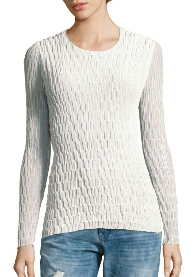 Akris Long Sleeve Textured Top