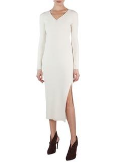 Akris Long-Sleeve V-Neck Ribbed Midi Dress