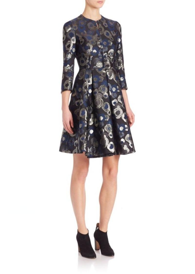 Akris Lurex Jacquard A-Line Coat Dress