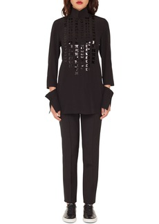 Akris Magic Form Embroidered Tunic Blouse