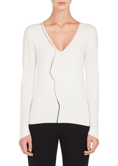 Akris Marble Mesh Cashmere Blend V-Neck Sweater
