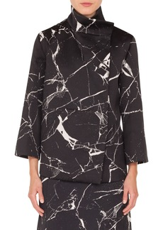 Akris Marble Tile Jacquard Wool Blend Jacket