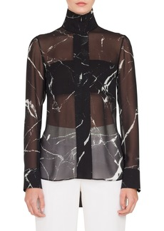 Akris Marble Tile Print Silk Blouse
