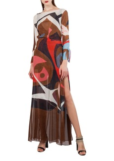 Akris Masonite-Print Silk Crepe Gown