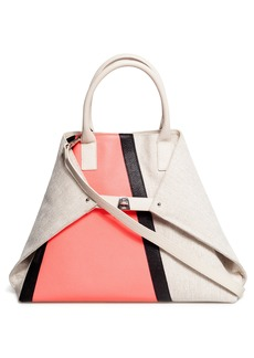 Akris Medium AI Colorblock Canvas & Leather Tote