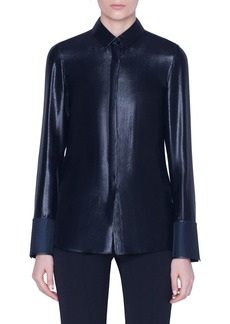 Akris Metallic Button-Front Blouse