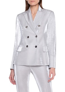 Akris Metallic Jersey Double Breasted Jacket
