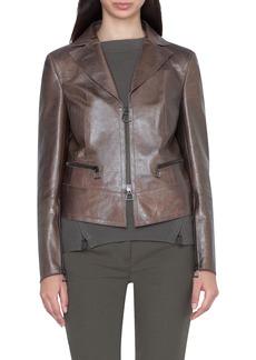 Akris Metallic Leather Crop Jacket