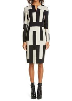 Akris Mosaïque Print Long Sleeve Double Face Wool Blend Sheath Dress