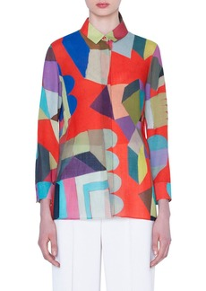 Akris Multipattern Long-Sleeve Blouse