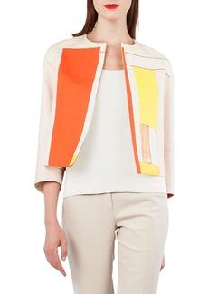 Akris Mural-Print Open-Front Short Cotton-Silk Jacket
