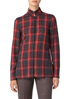 Akris Open Back Plaid Wool Mousseline Shirt