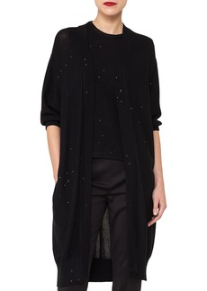 Akris Open-Front Elbow-Sleeve Knit Cardigan with Sequin Embellishments