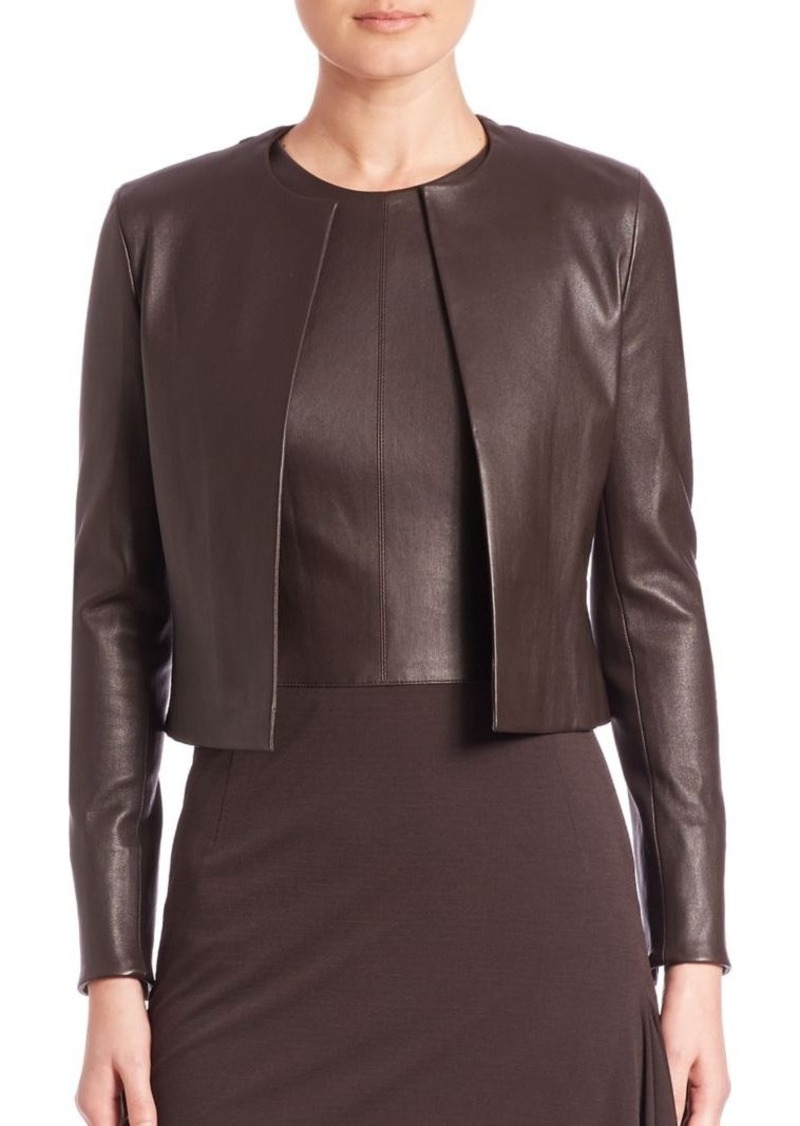 Akris Open-Front Leather Jacket