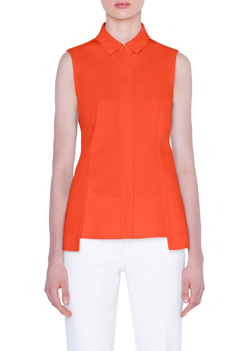 Akris Peplum Cotton Poplin Shirt