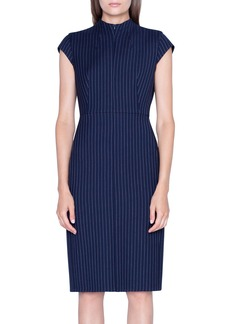 Akris Pinstriped Wool Cap-Sleeve Dress
