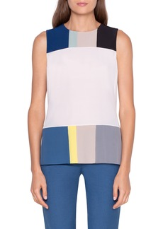 Akris Pittura Patchwork Sleeveless Silk Blouse