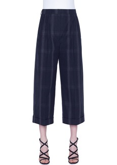 Akris Plaid Cropped Cotton Pants