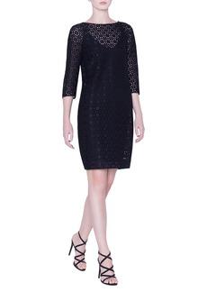 Akris Plaid-Embroidered 1/2-Sleeve Dress