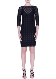 Akris Plaid Embroidered Sheath Dress
