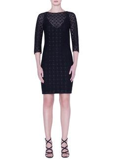 Akris Plaid Embroidered Sheath Dress