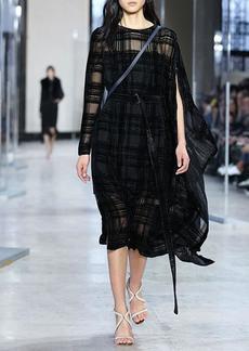 Akris Plaid Jacquard One-Sleeve Cape Dress