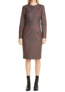 Akris Plaid Long Sleeve Wool Flannel Sheath Dress