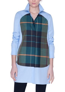 Akris Plaid-Panel Button-Front Shirt